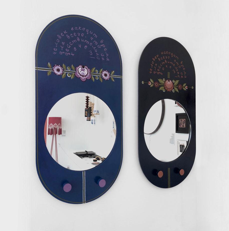 Зеркало темно-серое ручной работы с городецкой росписью
