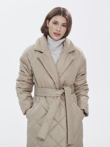 Пальто стёганое бежевое