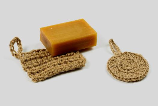 Подложка для мыла и экогубка из джута