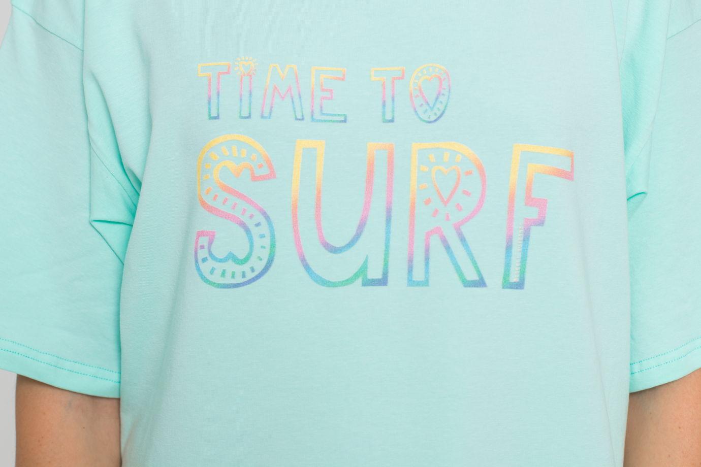 Футболка оверсайз с принтом Time to surf размер L