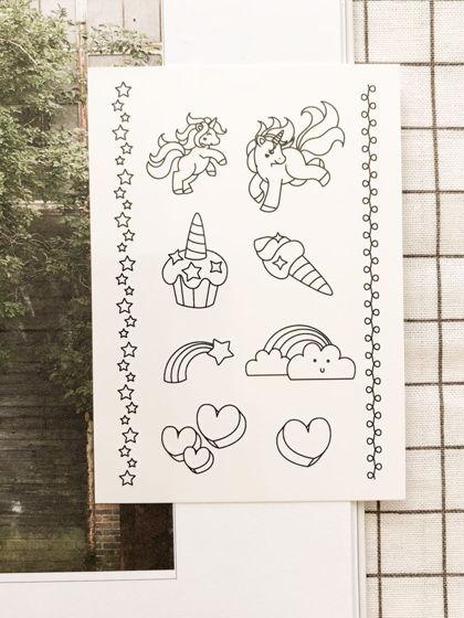 """Временные переводные татуировки MimiToo """"Единорог контур"""" для детей и взрослых"""