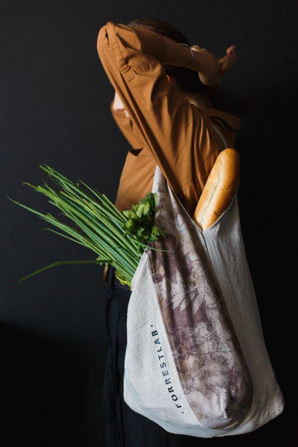 Сумка-шоппер из льна с экопринтом из листьев FORRESTLAB