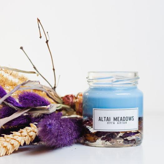 Ароматическая свеча с гелем и сухоцветами