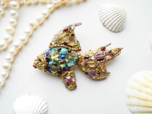 Брошь мозаичная Тропическая рыбка