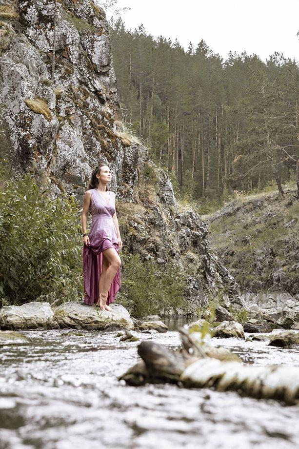 Платье Вайна с асимметричным подолом, лавандовый