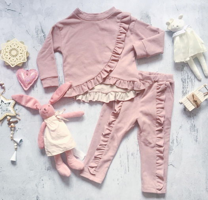 Комплект розовый с рюшей
