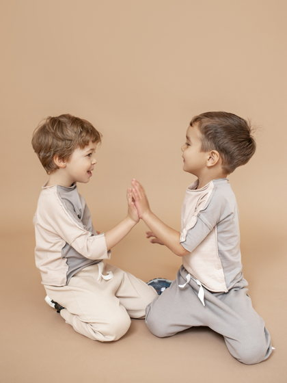 Детская двухсторонняя двухцветная футболка из хлопка