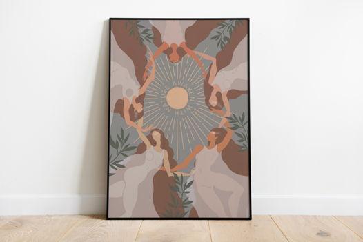 "Постер с танцующими женщинами ""AWAKEN WITH NATURE"""