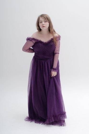 Винтажное вечернее платье (party-dress) из фиолетовой сетки, no name, размер S