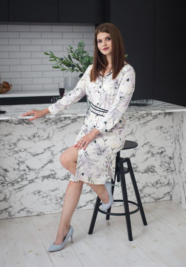 Белое платье-рубашка, принт Аисты, арт.0012-46