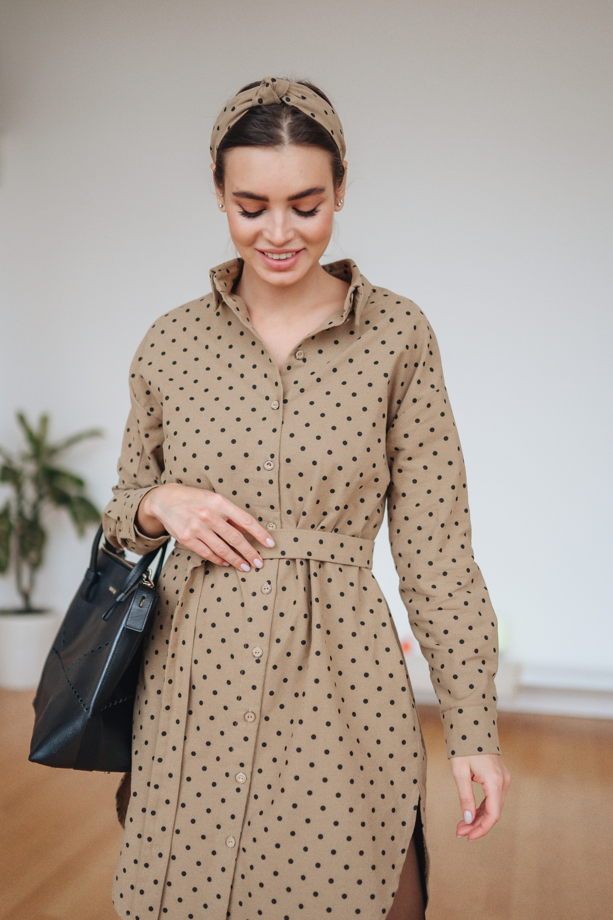 Платье-рубашка оверсайз из тёплого хлопка