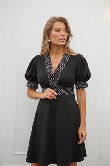 Чёрное платье с рукавами фонариками и твидовыми вставками