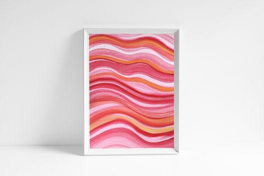 """Акварельный рисунок """"Красно-розовые волны"""""""