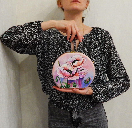 """Женская сумка-кроссбоди из дерева с ручной росписью """"Розовые маки"""", розовая"""