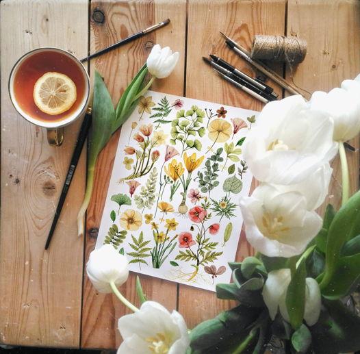 "Печатный постер А4 ""Прозрачные цветы"""