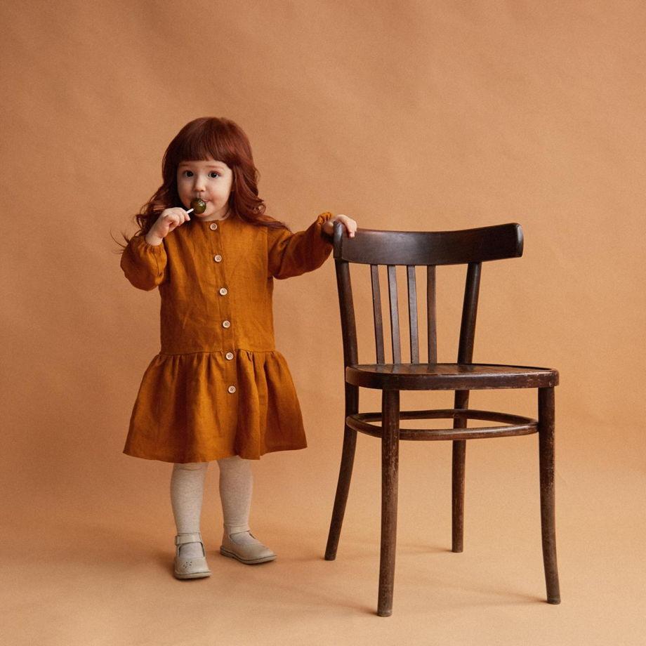 Платье с заниженной талией на пуговицах из 100% льна нарядное / повседневное