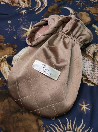 Стеганая сумочка-мешок из атласа на подкладке