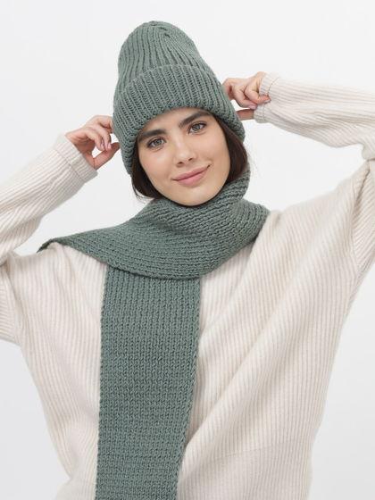 Шапка бини и шарф вязаный комплект женский зеленый