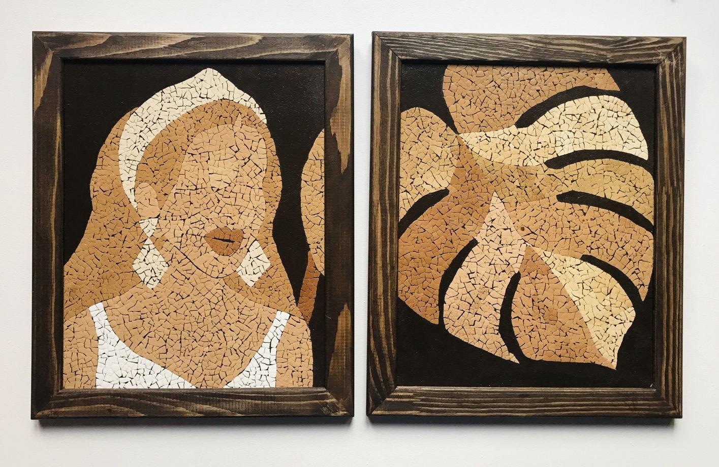 Картина «Девушка и лист монстеры» ручной работы из яичной скорлупы натуральных оттенков