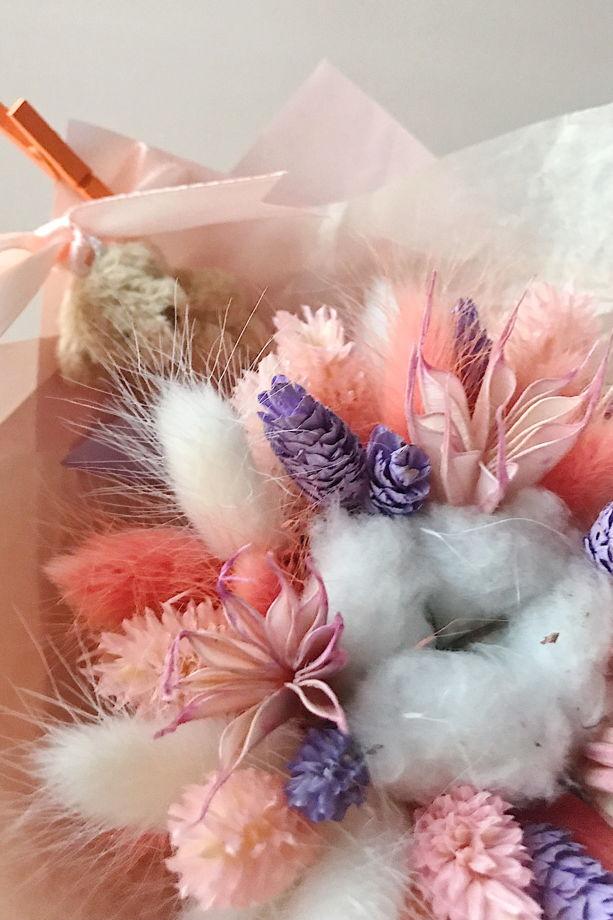 """Детский букетик из сухоцветов №8 """"Персиковый с лиловым"""""""