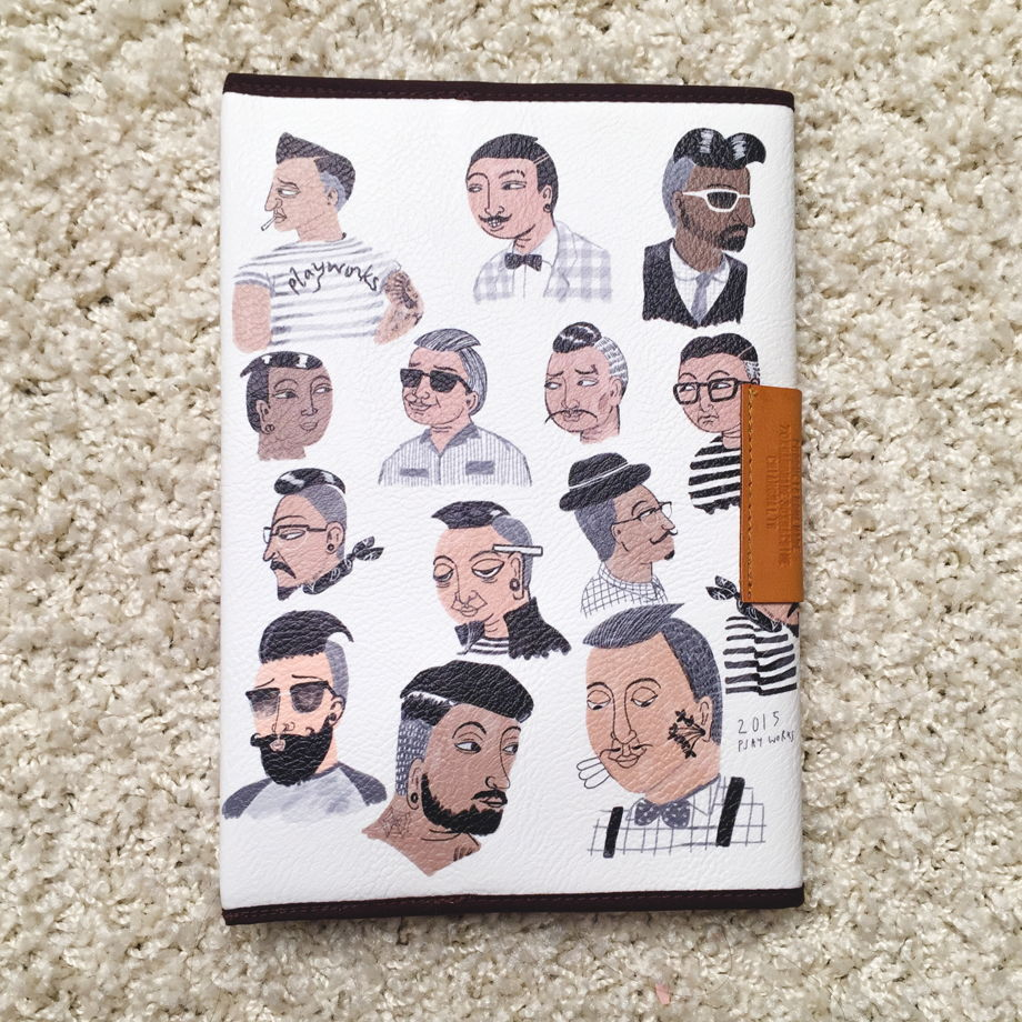 Блокнот с обложкой из искусственной кожи, рисунок мужские лица