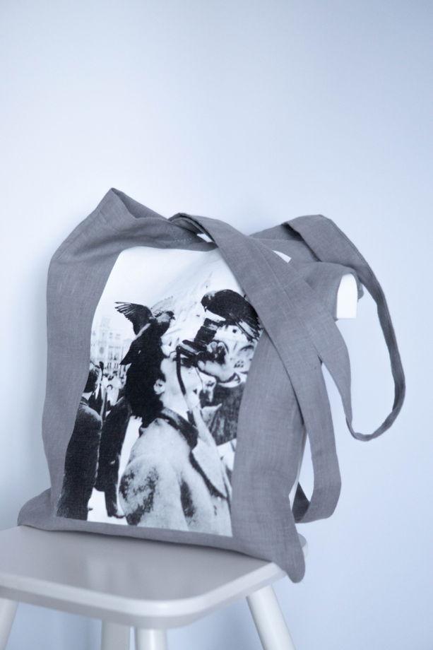 Льняной серый шоппер с фотографией