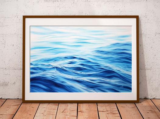 """Акварельная картина """"Волны"""" (56 х 38 см)"""