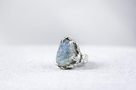 Кольцо серебро, аквамарин.