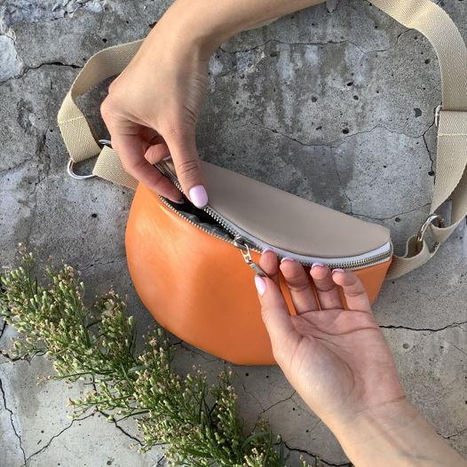 Поясная сумка на осень, сшитая вручную из итальянской эко-кожи.