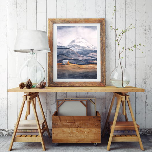 """Постер с авторской иллюстрацией """"Одинокая гора"""""""