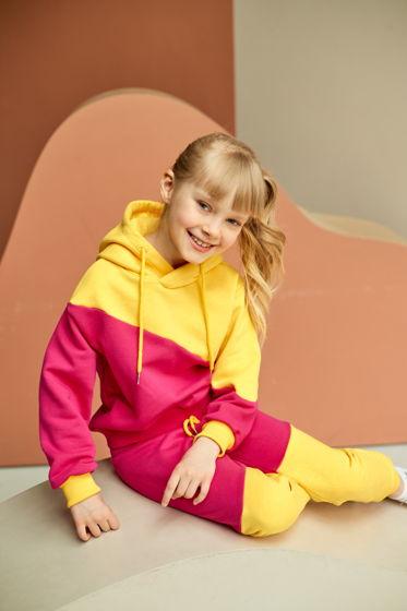 """Толстовка из футера розово-желтого цвета для девочки """"Ray"""""""