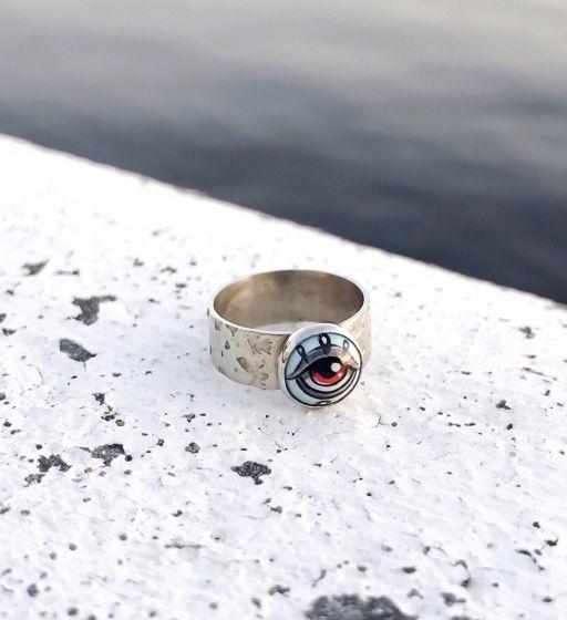 Фаланговое кольцо с горячей эмалью
