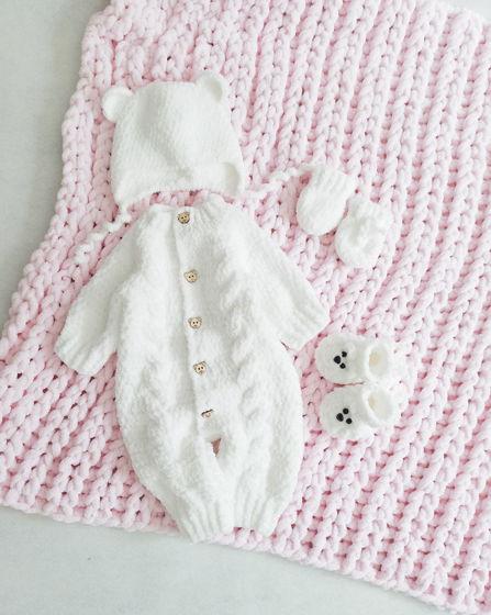 Комплект Мишка белый с розовым пледом.