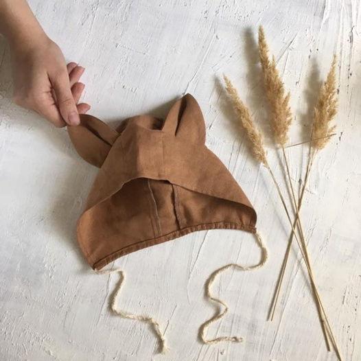 Льняная шапочка-капюшон лисичка