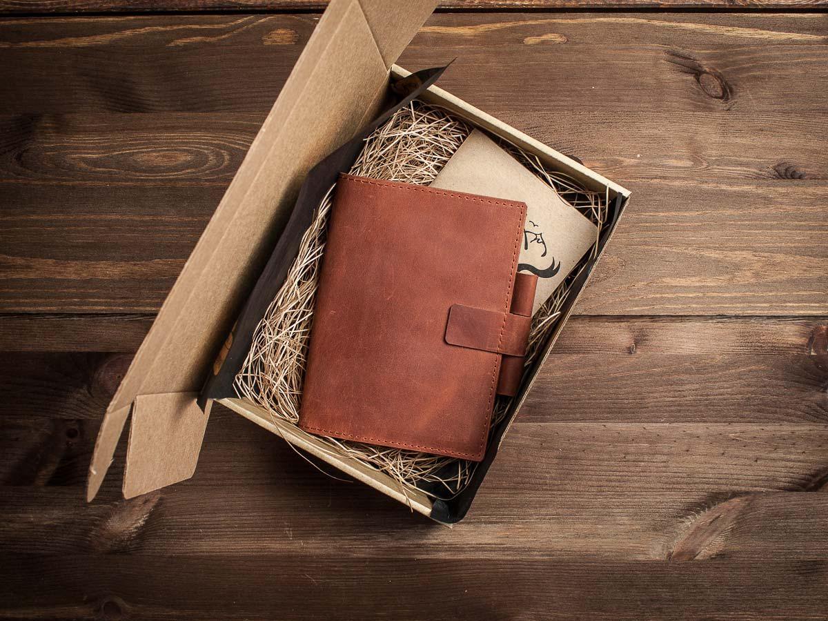 Кожаный деловой блокнот -BRAINSTORM- А6 цвет Коньяк