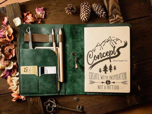 Кожаный ежедневник органайзер -LEGACY- со сменными блокнотами А5 цвет Зеленый