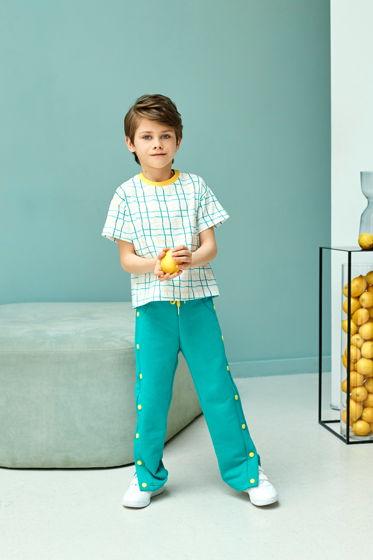 Спортивные брюки из футера изумрудного цвета для мальчика Star