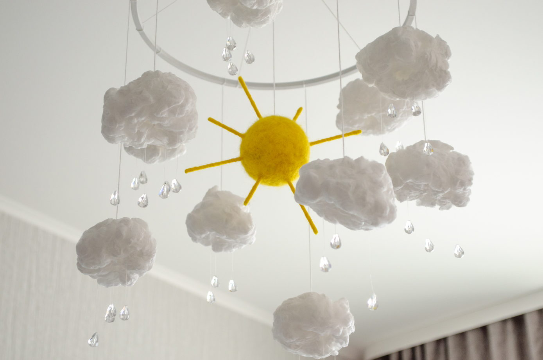 Мобиль в кроватку солнышко с облаками