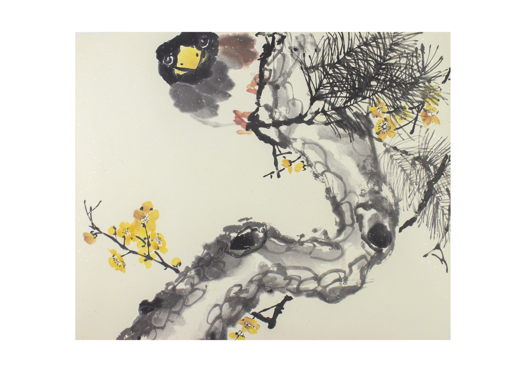 """""""Любопытный наблюдатель"""", картина в традиционном китайском стиле се-и (69 * 57 см)"""