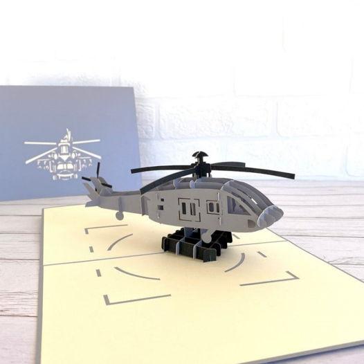 Вертолёт - мужские 3D открытки на 23 февраля, ручная работа