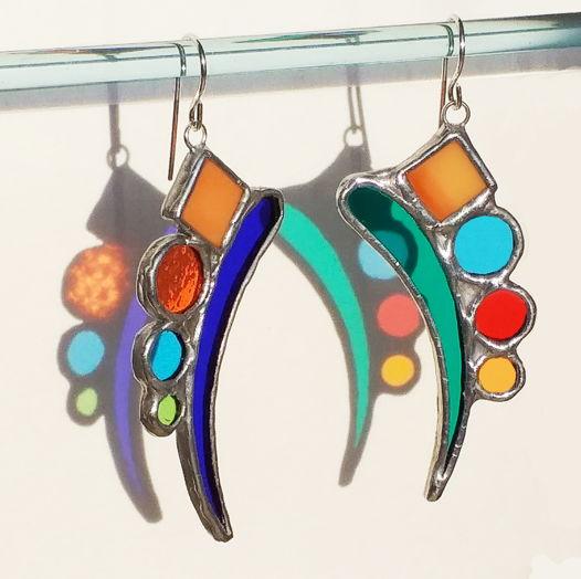 Серьги витражные разноцветные Радуга