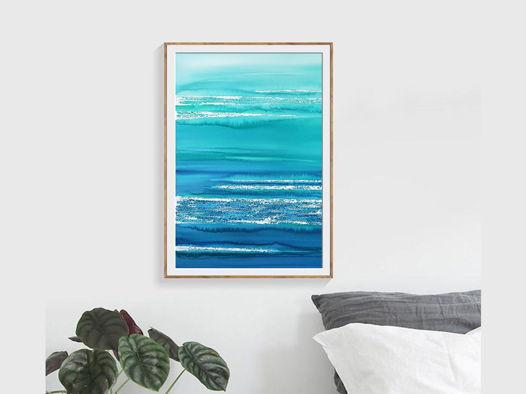 """Картина из авторской серии """"Морские сны - абстракция #3"""", размер: 37 х 55 см"""
