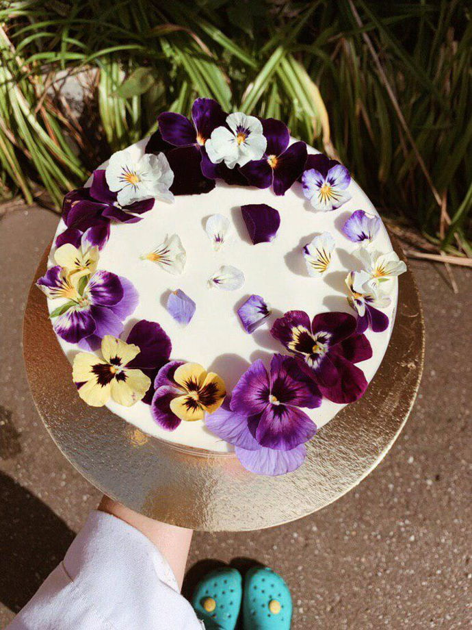 Свадебные цветочные торты