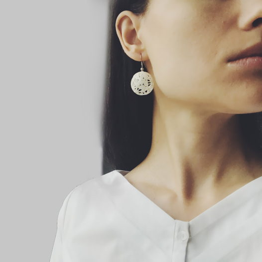 """Серьги """"Node""""  цвет белое серебро"""