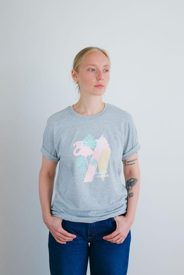Меланжевая футболка «Фламинго»