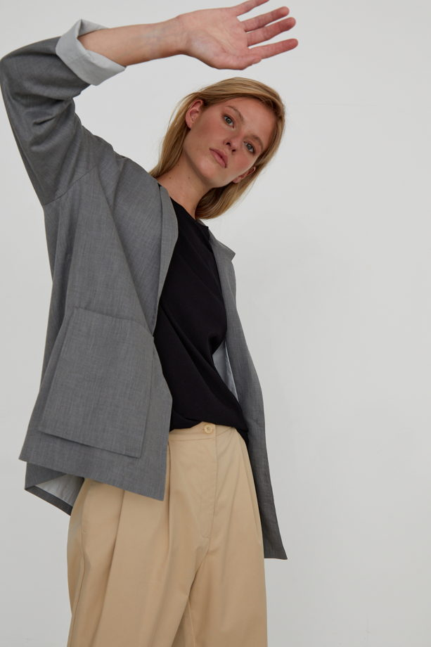 Жакет со спущенным рукавом из мягкого плетёного премиум-хлопка