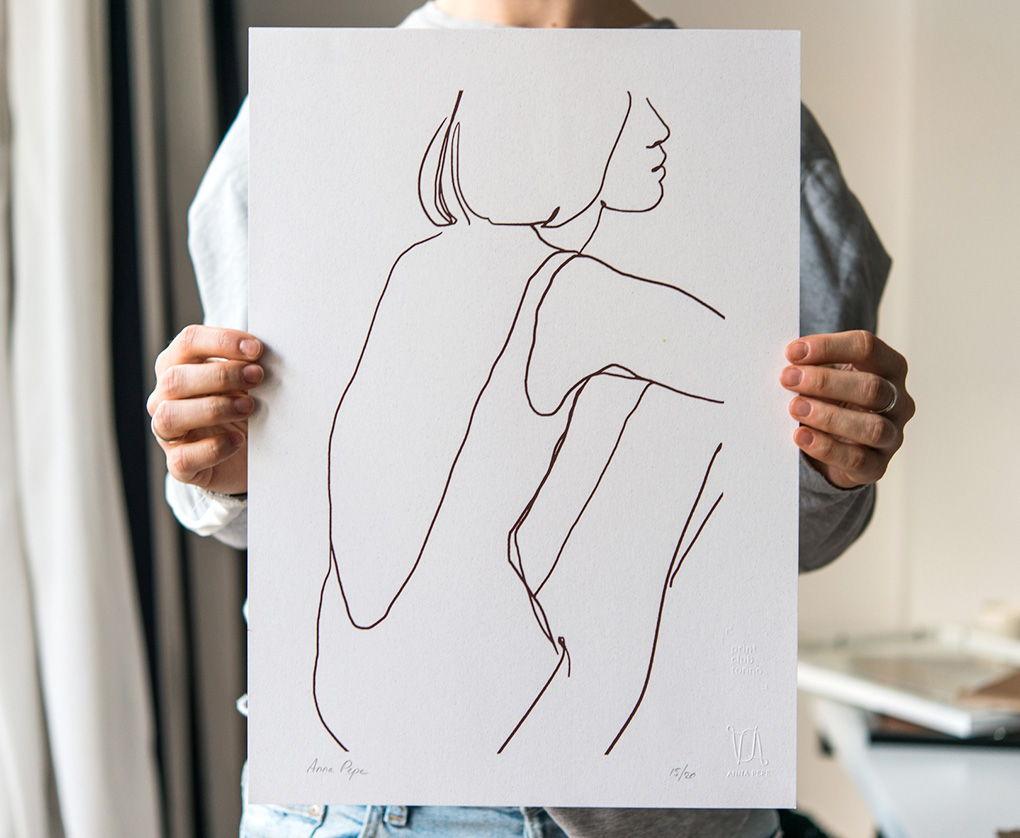 «Купальщица» / Шелкография, тираж 20 экз