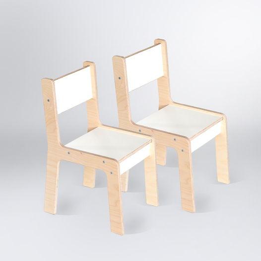 Детский стул Kiddy's от 2 до 8 лет, деревянный, натурального и белого цвета, набор из двух стульев