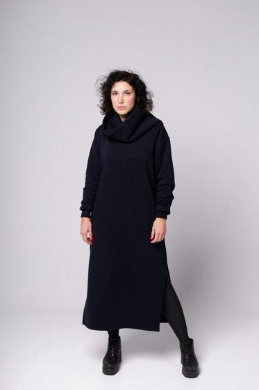 Платье кокон с объемным воротником