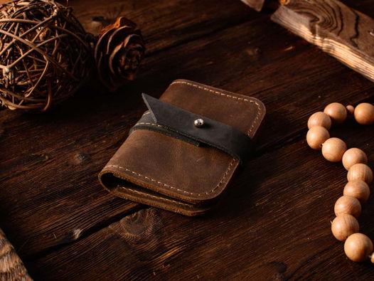 Картхолдер -TINY- карманный кошелек для карт цвет Шоколад
